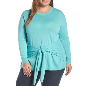 NWT VINCE CAMUTO Tie Front Sweater In Bright Aqua